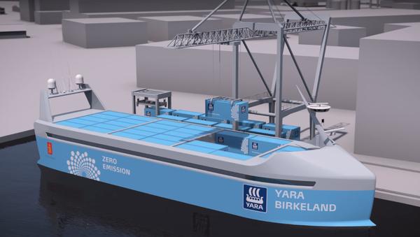 Concepto de la nave fertilizadora autónoma y de cero emisiones Yara Birkeland - Sputnik Mundo