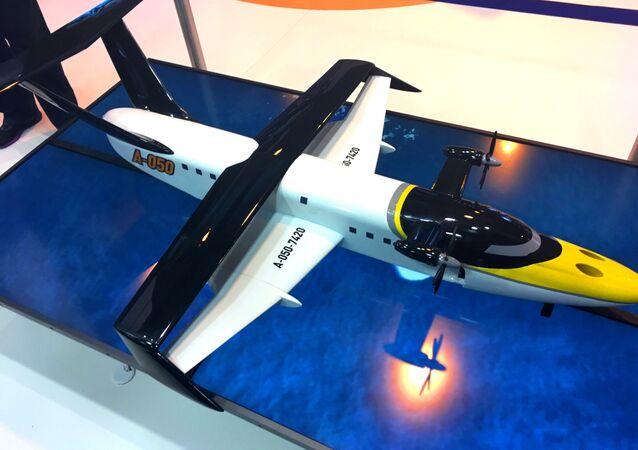 Un modelo a escala del ekranoplano ruso Chaika