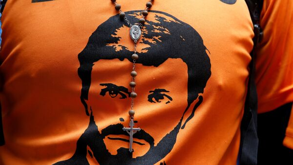 Una camiseta con el retrato de Leopoldo López - Sputnik Mundo