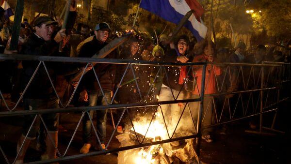 Campesinos protestando en Asunción, Paraguay - Sputnik Mundo