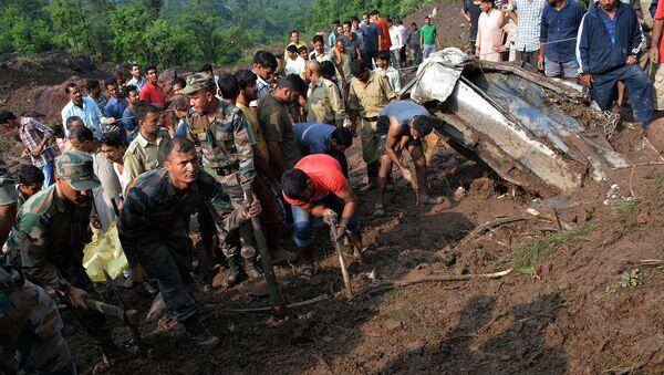 Las consecuencias de las inundaciones en Pradesh, la India (imagen referencial) - Sputnik Mundo