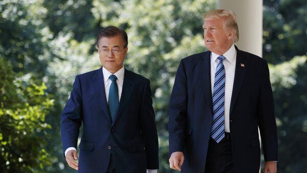 Presidente de Corea del Sur, Moon Jae-in, y presidente de EEUU, Donald Trump (archivo) - Sputnik Mundo