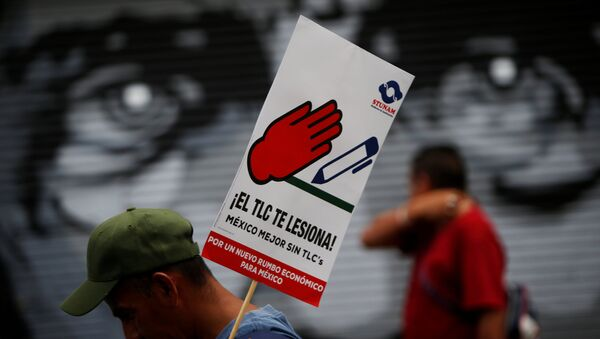 A man holds a placard during a protest with union workers and farmers as NAFTA renegotiation - Sputnik Mundo