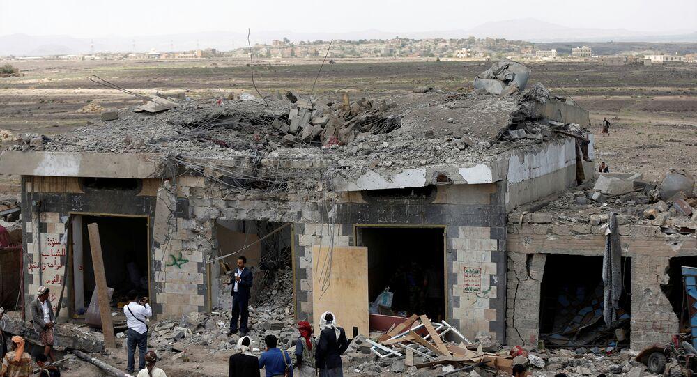 Bombardeo en Saná, Yemen