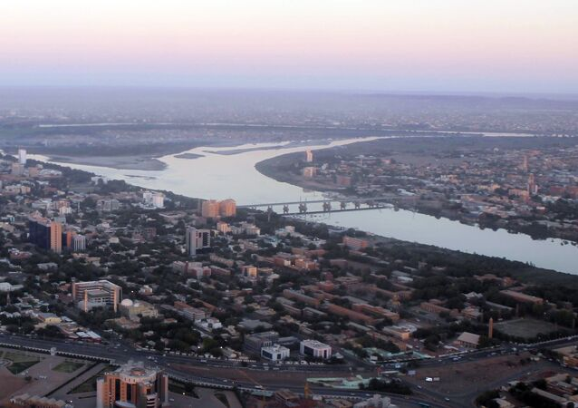 An aerial view shows the Nile river cutting through the Sudanese capital Khartoum