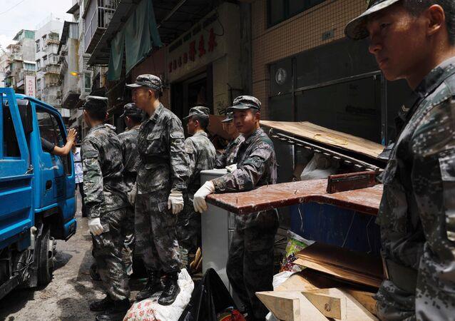 Los militares del Ejército Popular de Liberación de China en Macao