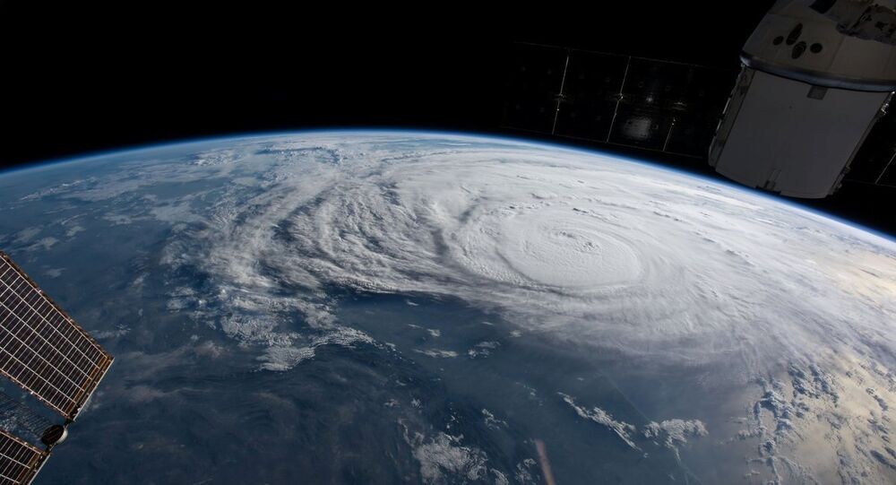 El huracán Harvey visto desde el espacio (archivo)