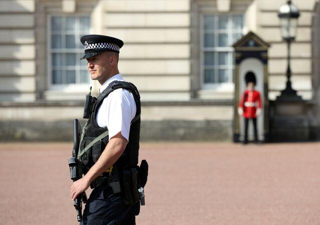 Policía enfrente del Palacio de Buckingham, Londres, Reino Unido