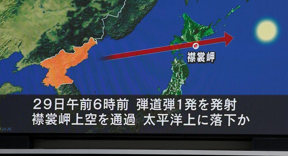 La trayectoria de un misil lanzado por Corea del Norte (archivo)