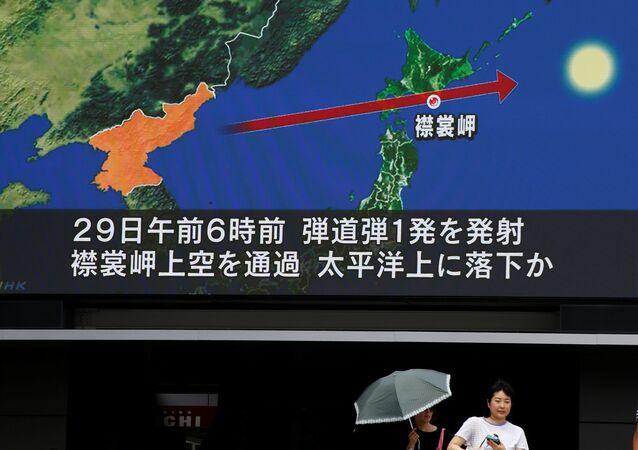 La trayectoria del misil lanzado por Corea del Norte