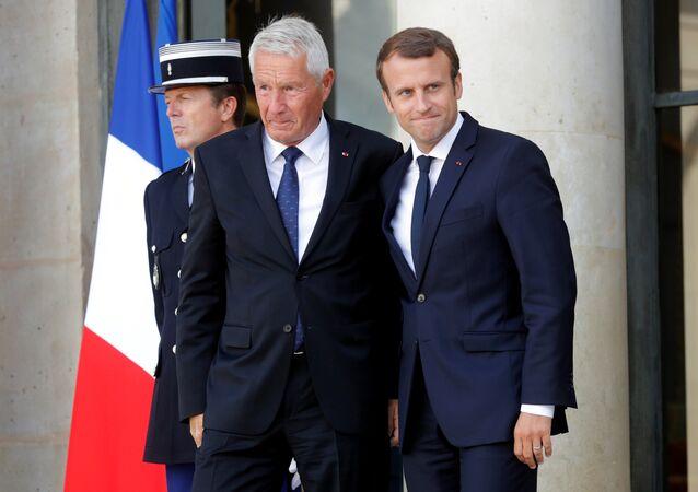 El secretario general del Consejo de Europa, Thorbjorn Jagland, y el presidente de Francia, Emmanuel Macron