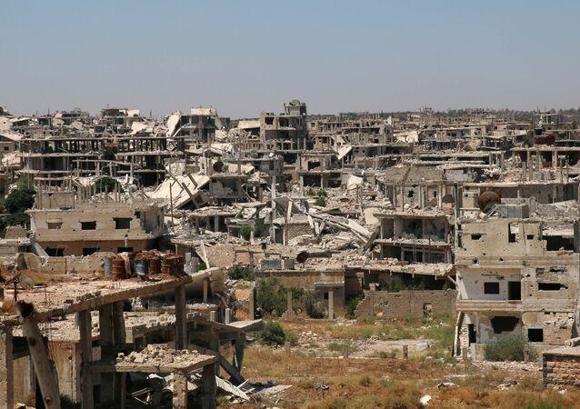 Edificios destruidos en Deraa, Siria (archivo)