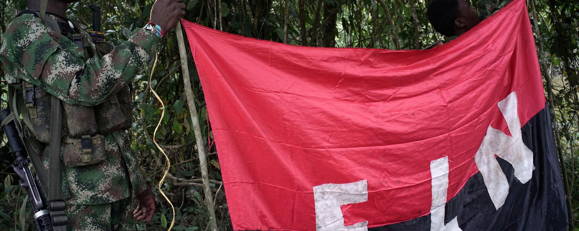 Los rebeldes del Ejército de Liberación Nacional (ELN) sostienen un estandarte en las selvas del noroeste de Colombia - Sputnik Mundo, 1920, 16.05.2021