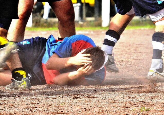 Un jugador durante un partido de rugby (archivo)