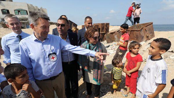 El presidente del Comité Internacional de la Cruz Roja, Peter Mauer, en Gaza - Sputnik Mundo