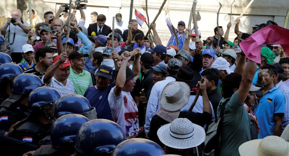 Protestas de agricultores en Asunción, la capital de Paraguay