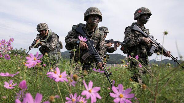 Marines de Corea del Sur durante unas maniobras militares en la isla de Baengnyeong - Sputnik Mundo