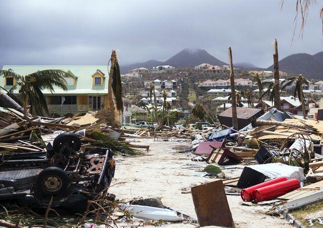 Daños en la isla caribeña francesa de Saint-Martin, después del paso del huracán Irma