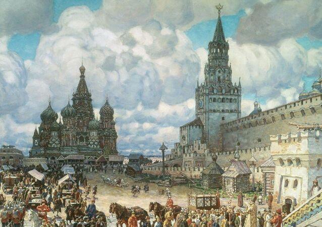 La plaza Roja de Moscú en el siglo XVII, cuadro del artista Apolinari Vasnetsov