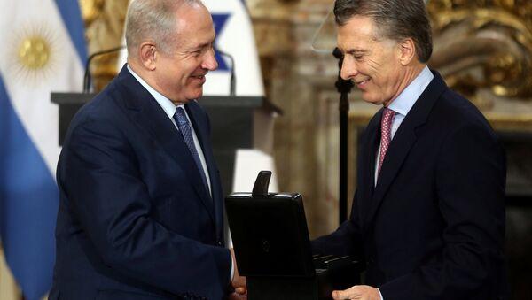 Primer ministro de Israel, Benjamín Netanyahu, y presidente de Argentina, Mauricio Macri - Sputnik Mundo