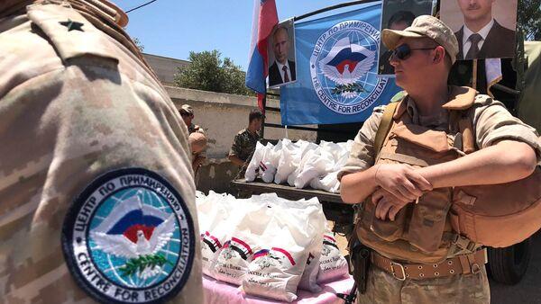 La entrega de la ayuda humanitaria rusa a los sirios (archivo) - Sputnik Mundo