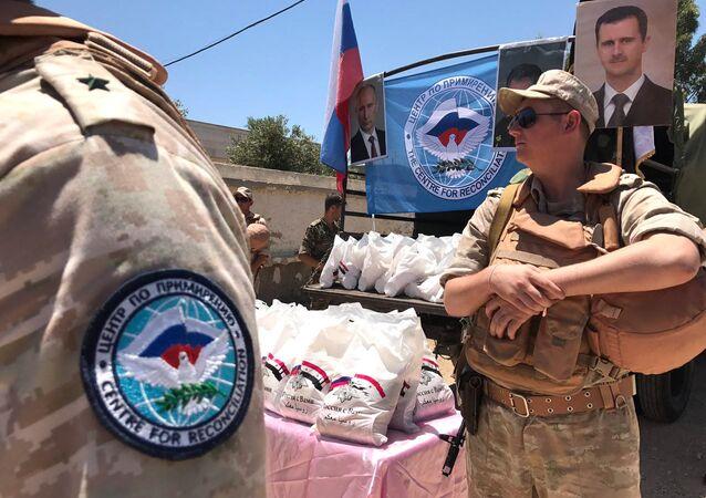 La entrega de la ayuda humanitaria rusa a los sirios (archivo)