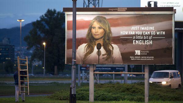 La primera dama Melania Trump en la publicidad de una escuela de idiomas en Zagreb, Croacia - Sputnik Mundo