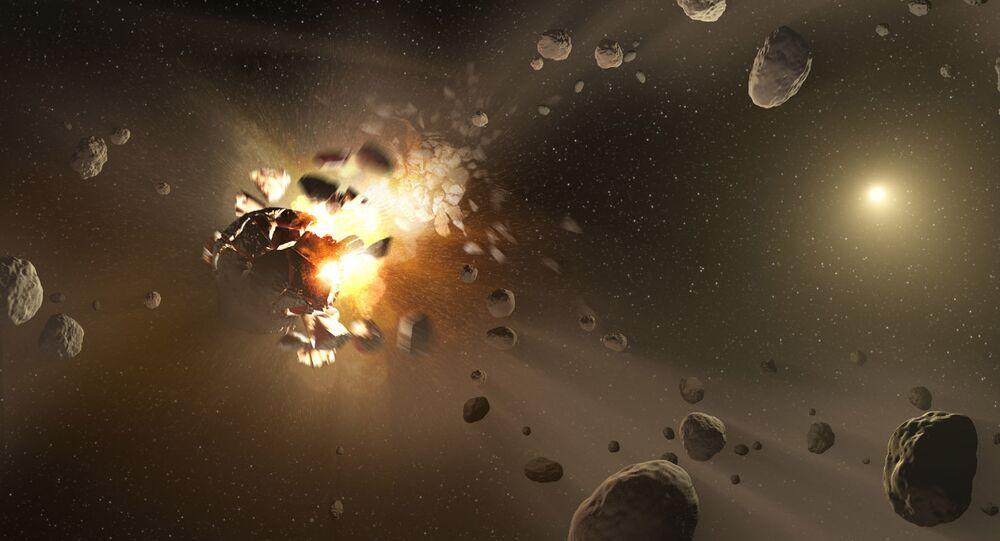 Representación artística de la colisión de Nibiru contra la Tierra
