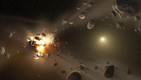 Representación artística de la colisión de Nibiru contra la Tierra - Sputnik Mundo