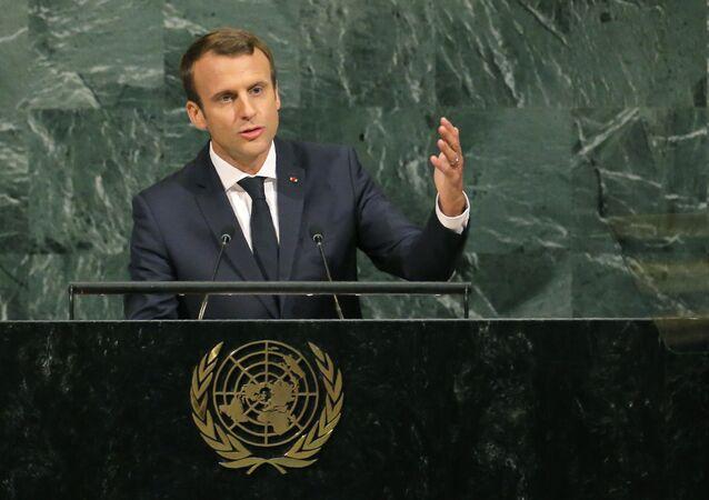 El presidente de Francia, Emmanuel Macron, durante su discurso en la 72 Asamblea General de la ONU