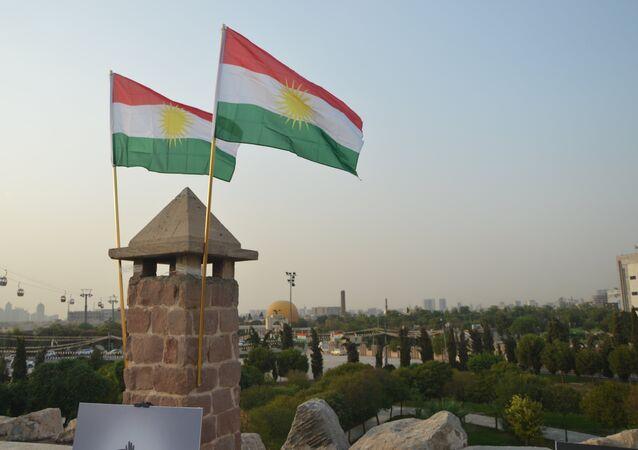 Las banderas del Kurdistán iraquí