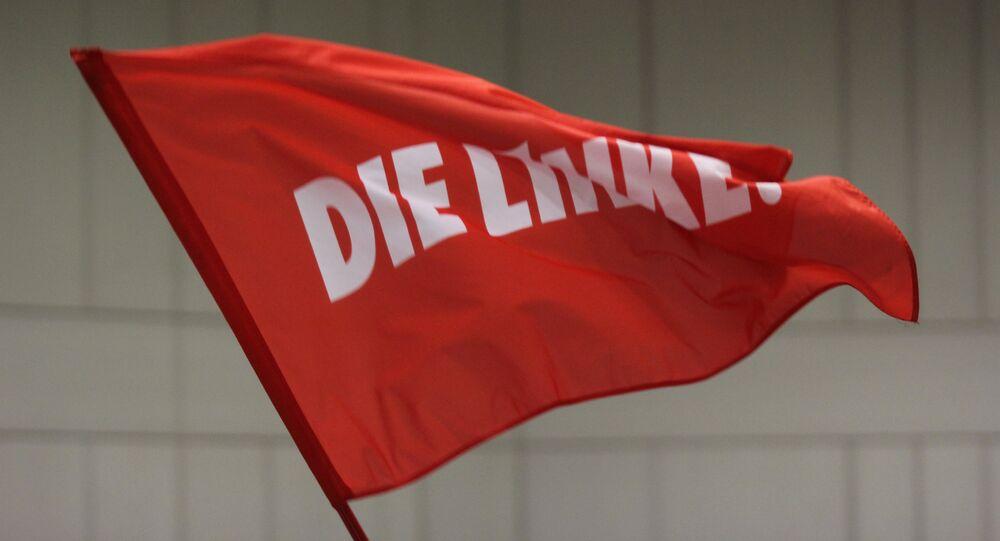 Bandera con el logo de Die Linke