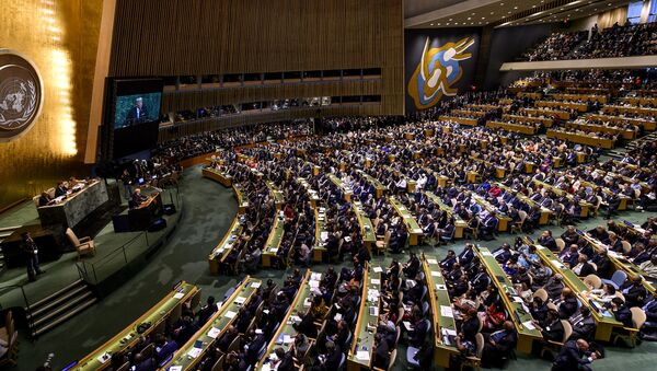 El presidente de EEUU, Donald Trump, en la Asamblea General de la ONU - Sputnik Mundo