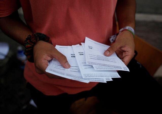 Formularios del referéndum en Cataluña