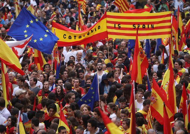 Manifestación a favor de la unidad de España en Barcelona la víspera del referéndum catalán