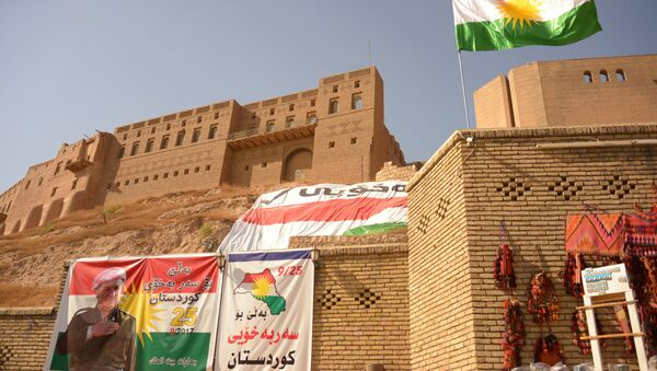 Сarteles promoviendo el referéndum de Kurdistán iraquí - Sputnik Mundo