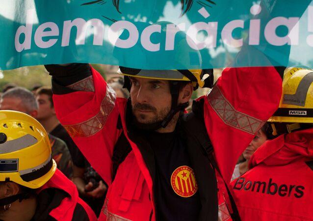 La huelga general en Catalúña a favor de la independencia