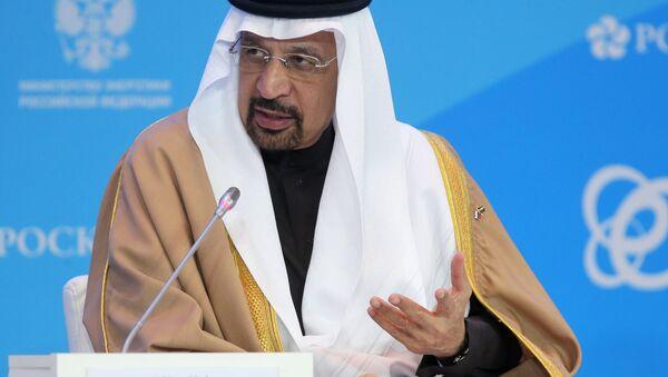 El ministro saudí de Energía, Khalid Falih, en la sesión plenaria de la Semana de la Energía de Rusia - Sputnik Mundo