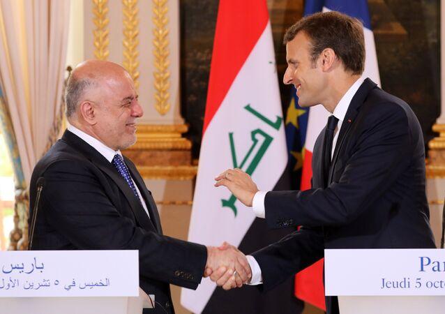 Primer ministro de Irak, Haider Abadi, y presidente de Francia, Emmanuel Macron