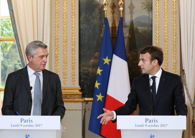El Alto Comisionado de las Naciones Unidas para los Refugiados (Acnur), Filippo Grandi junto al presidente de Francia, Emmanuel Macron