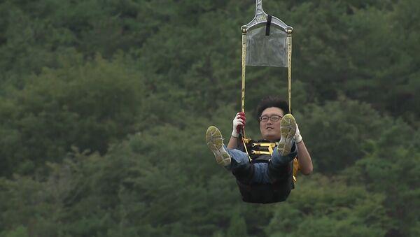 Inauguran en Corea del Sur la tirolina más larga de Asia - Sputnik Mundo