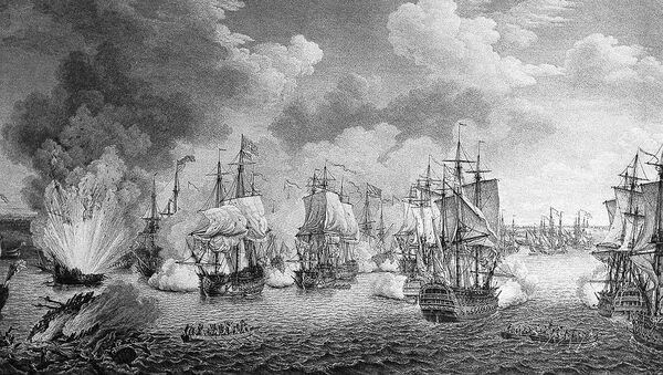 La batalla de Tchesme de 1770, durante la Guerra ruso-turca de 1768-1774 - Sputnik Mundo