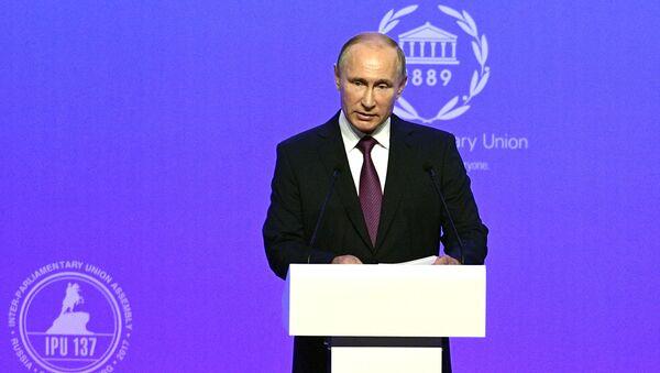 Vladímir Putin, presidente de Rusia, durante la apertura de la 137 Asamblea de la Unión Interparlamentaria, en San Petersburgo - Sputnik Mundo