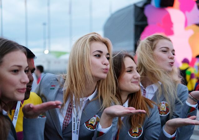 Participantes del XIX Festival Mundial de la Juventud y los Estudiantes