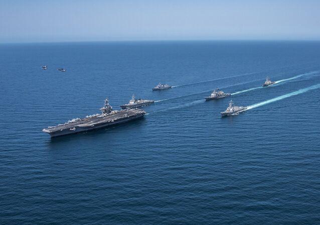 Grupo naval de EEUU y Corea del Sur (imagen referencial)