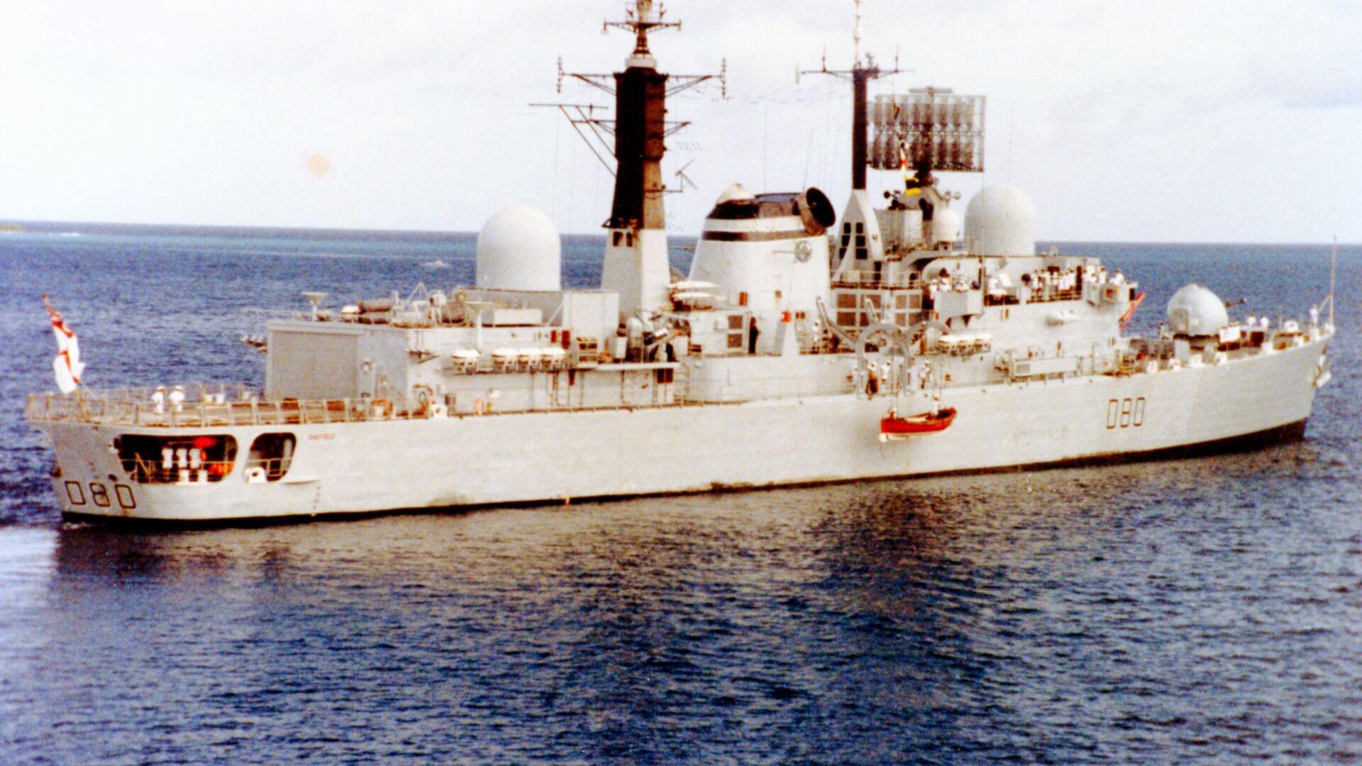 El destructor británico HMS Sheffield en 1982 - Sputnik Mundo, 1920, 04.05.2021