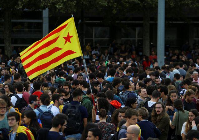 Protestas en Barcelona contra el encarcelamiento de Jordi Sànchez y Jordi Cuixart