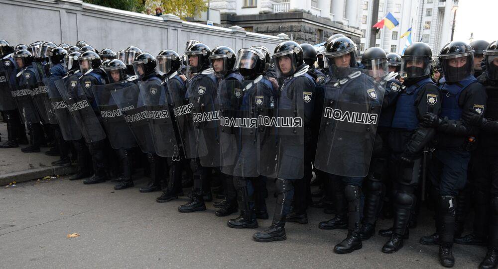Policía ucraniana durante las protestas en Kiev