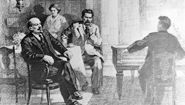 Reproducción del dibujo V. I. Lenin y A. M. Gorky escuchando música en la residencia de Y. P. Peshkova, de Pyotr Vasilyev. - Sputnik Mundo