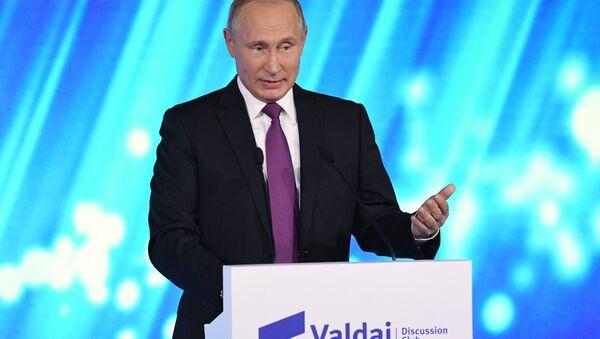 Vladímir Putin, presidente ruso durante su discurso en la clausura de la 14ª sesión del Club Valdái - Sputnik Mundo